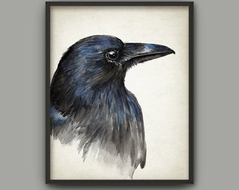 Raven Watercolor Art Print - Crow Bird Painting Wall Art Poster - Black Bird Home Decor - Dark Navy Blue Wall Art Print -Gothic Poster AB588