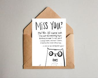 Printable Grumpy Cat Goodbye Greeting Card - Sassy Leaving Moving Saying Farewell - Instant Download - Black + White - Miss You Card