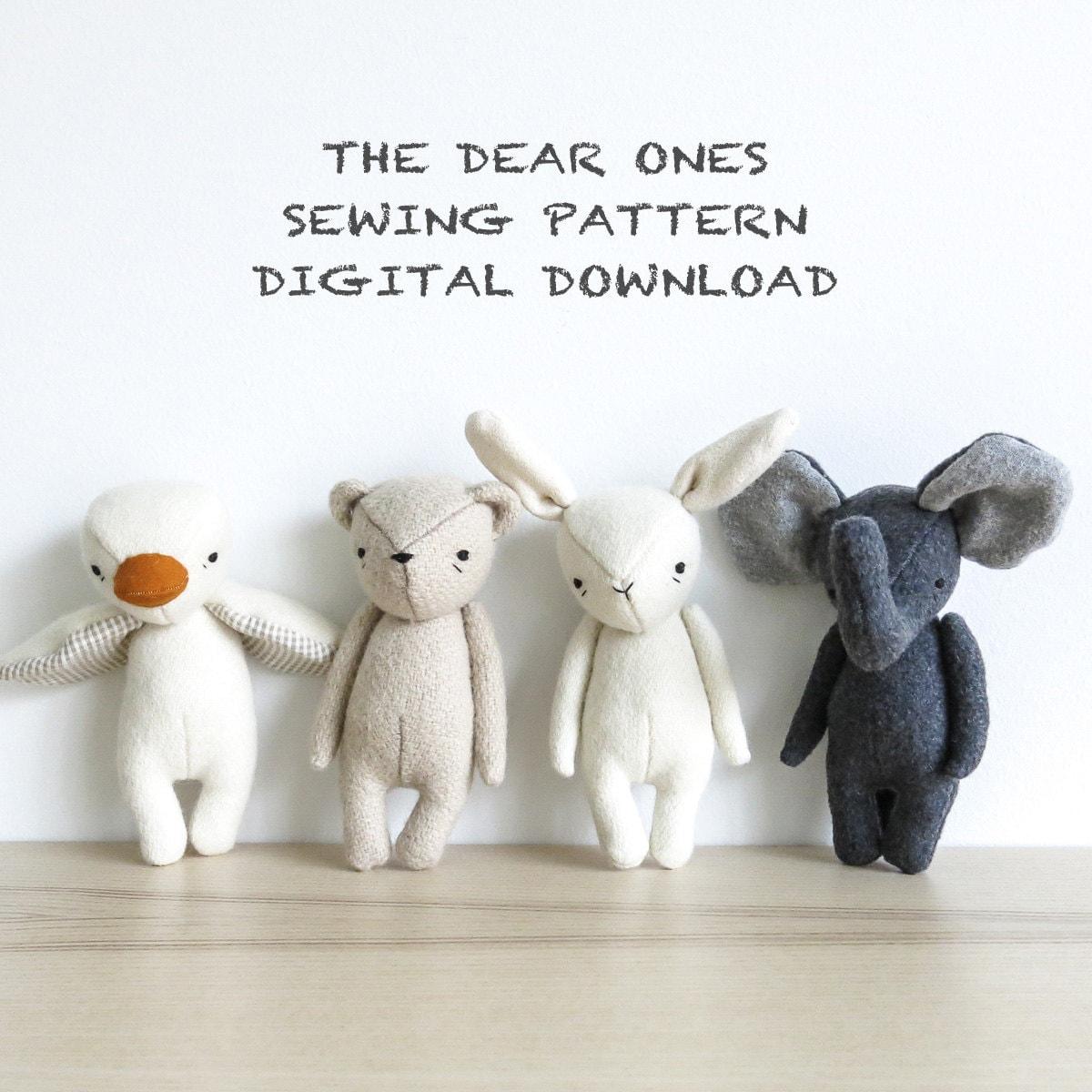 Sewing pattern set of four the dear ones bear bunny duck and sewing pattern set of four the dear ones bear bunny duck and elephant soft toy pdf pattern digital download jeuxipadfo Gallery