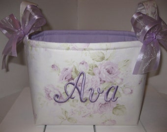 Lavender Rose Ivory Shabby Chic Organizer bin / Fabric Basket / Small Diaper Caddy -Personalization Available