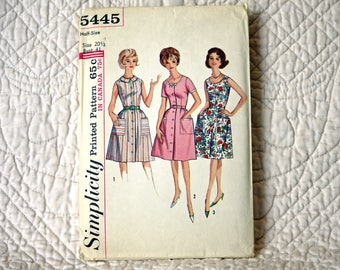 Dress, L, 1964, Precut Complete, Simplicity 5445 Pattern, Front Buttons, Fitted Bodice, Flared Skirt, Scoop Neck or Flat Collar, Size 20
