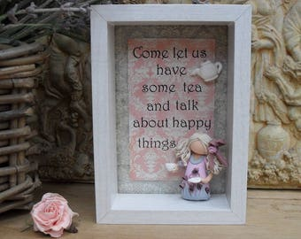 Friends Gift, Birthday Gift for Her, Polymer Clay Frame, Plaque, Tea
