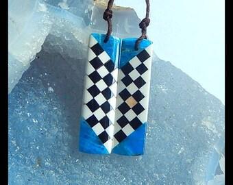 New Design,Handmade Natural Blue Apatite, Howlite,Obsidian Intarsia Gemstone Earring Bead,38x10x4mm,7.3g (E9743)