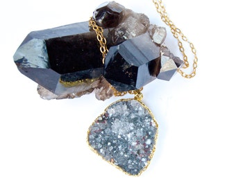 Sparkling Blue/Grey Druzy Necklace- Raw mineral Rough Cut Blue Quartz Crystal Necklace- OOAK Sparkling Blue Druse Crystal Pendant- on Sale!