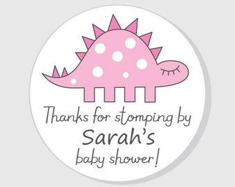 Dinosaur Thank You For Coming Baby Shower Stickers Pink Girl - Dino stomping by - personalized - favor - gift bag - envelope seal