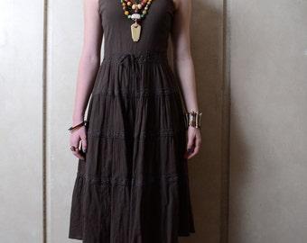Vintage Liz Claiborne Brown Peasant Dress