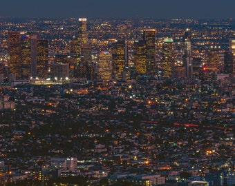 "Downtown Los Angeles Night 15x30"" Panoramic Cityscape Photography Print or Canvas California Fine Art  Photograph Wall Art Decor"