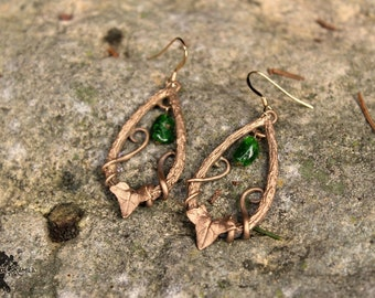 """""""Elven"""" - Ivy, diopside, and hand carved tree branch bronze earrings"""
