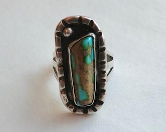 Vintage Turquoise Sterling Ring Southwest Boho Fashion Size 8.5