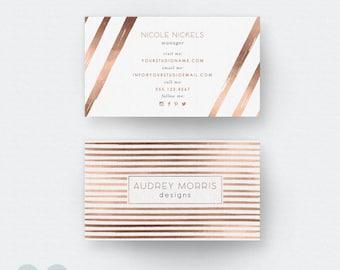 Business Card Template - Photoshop Template - Calling Card - Rose Gold Card - Gold Card - Card Design - Stripe Card - Modern Card - Digital