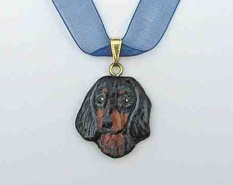 Dog Breed DACHSHUND LH Black Handpainted Clay Necklace/Pendant Artist Painted
