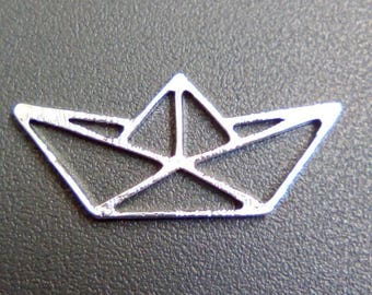 Small origami boat 32x14mm silver charm