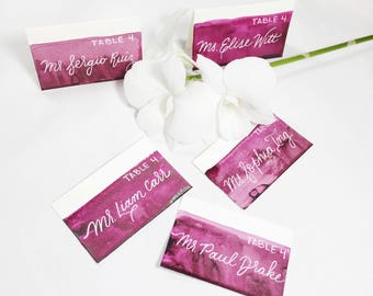 Watercolor escort cards - calligraphy, lettered, wedding escort cards
