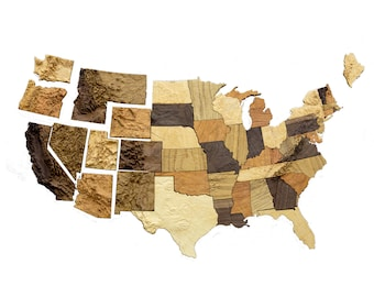 Wooden topographic interlocking magnet map of the United States, 3d puzzle