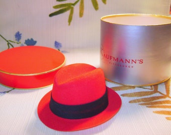 Vintage Salesman Sample Hat and Hat Box, Kaufmann's of Pittsburgh, Red with Black Band