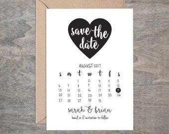 Printable DIY Heart Save the Date Calendar