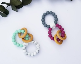 Double Silicone teether ring,rattle toy, silicone teether,Baby teether