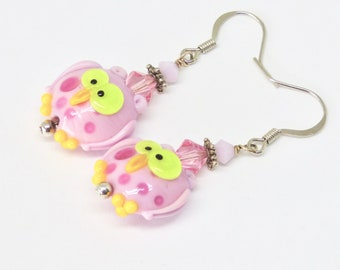 Pink Owl earrings. Owl Lampwork, Cute Graduation Gift, Owl Jewelry, Fun Bird Earrings, Bird Earrings, Art Gift for Bird Lover, Mothers Day
