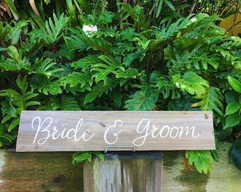 Bride & Groom Rustic Timber Wedding Sign