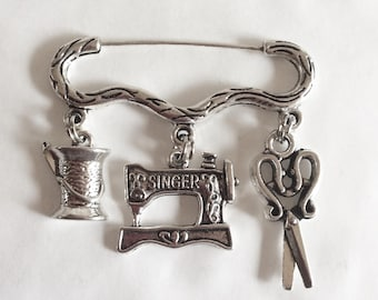 Sewing machine and scissors brooch / pin sewer's gift charm silver tone cotton reel