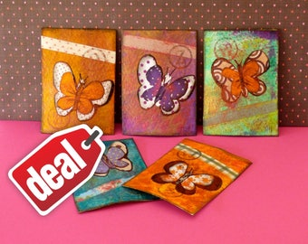 Set of 5 ACEOs Christmas promotions Original ACEO Butterfly art Original painting Deals Miniature artwork ACEOs lovers Collectible