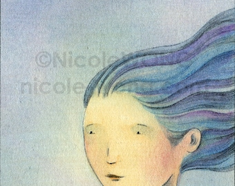 Original ACEO Drawing and Painting -- Blue