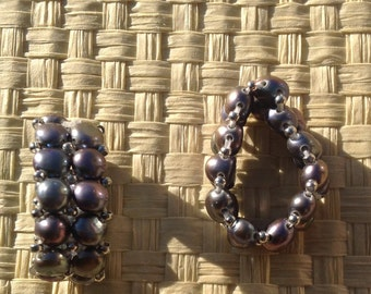 2 Strand Of Black Fresh Water Pearl Stretchy Ring Or Elastic Ring..Beautiful Fresh Water Pearls Ring..Fits Any Size Finger!! Active
