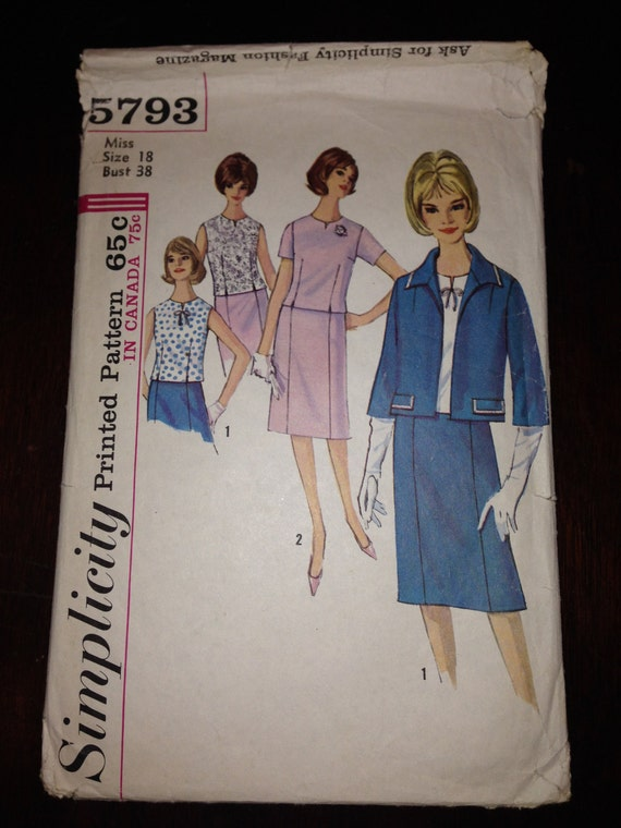 Vintage 60s Simplicity 5793 Sewing Pattern Misses and Womens Suit and Over Blouse Size 18
