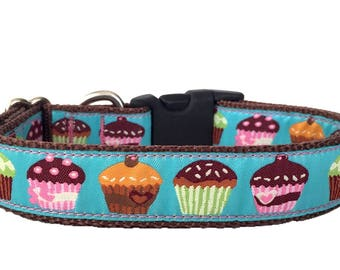 Cup Cakes Ribbon Dog Collar
