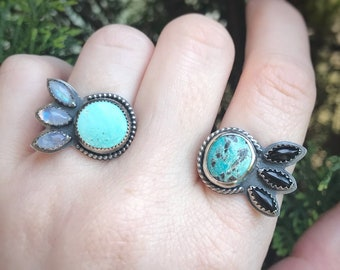 Turquoise and Black Onyx / Turquoise and Rainbow Moonstone / Sterling Silver Ring / Multistone ring / Fan Ring / Fish tail Ring / Boho Ring