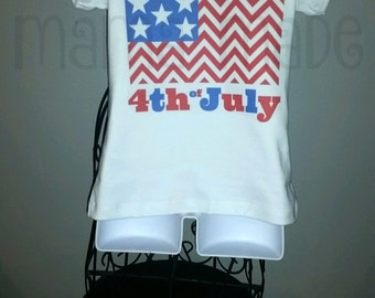 Girl's 4th of july shirt, little miss 4th of july shirt, little miss 4th of july, girls patriotic shirt, chevron flag shirt, 4th of july tee