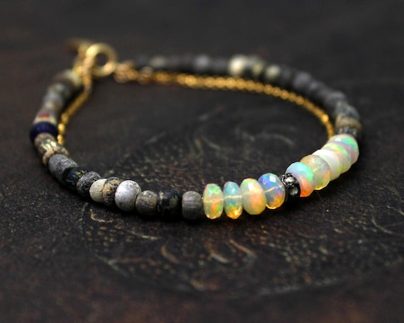 Diamond and Opal Bracelet with Ancient Roman Beads.  BB2364