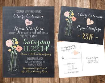Flowers in a Mason Jar, Chalkboard Wedding Invitations; Printable OR set of 25