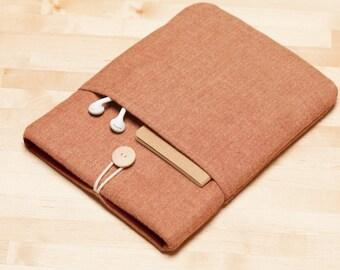 Macbook pro 15 sleeve,  Macbook 15 case, 15 inch laptop case, macbook 15 sleeve - Flannel chestnut