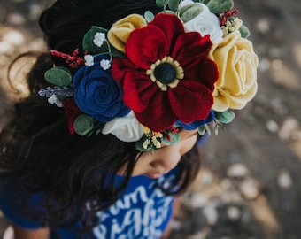 Beautiful wildflower wool felt flower crown headband