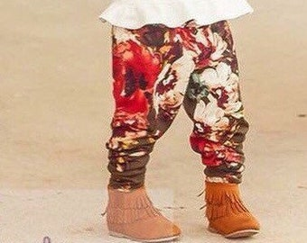 Girls Olive Floral Mandy Print Leggings