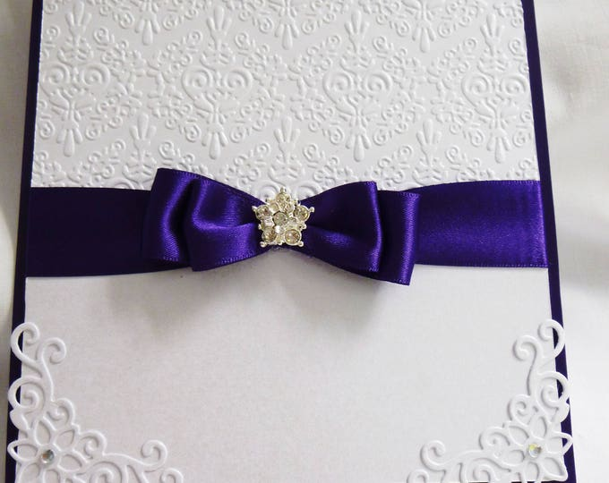 Wedding Day Card, Wedding Day Invitation, Party Invite, Celebration, Purple and White,