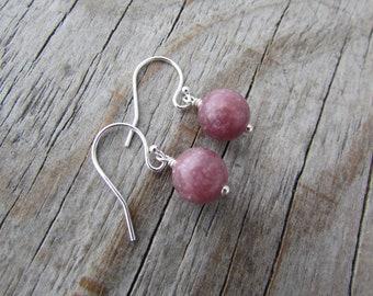 Lepidolite Earrings, small and simple, purple lepidolite dangle earrings