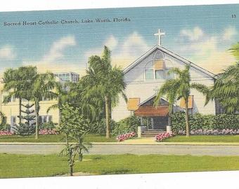 Vintage Florida Linen Postcard Lake Worth Sacred Heart Catholic Church UNUSED