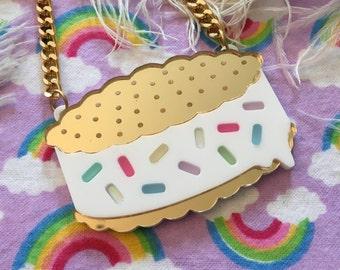 Rainbow Sprinkle Ice Cream Sandwich Necklace, Laser Cut Acrylic, Plastic Jewelry