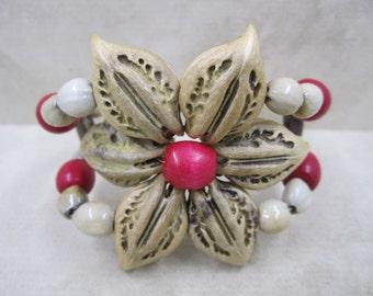 Boho Chic Flower  Cuff Bracelet