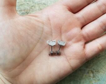 Crystal Quartz Stud Earrings, Hypoallergenic Surgical Stainless Steel Earrings, Birthday Gift, Small Earrings, Dainty Earrings