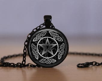 Wiccan Pendant Necklace Witchcraft Pagan Pentacle Black Magic Pentagram Jewelry