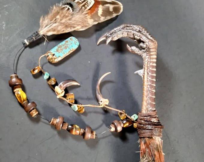 Ringneck Pheasant Claw, Turquoise, Tiger's Eye Voodoo/Hoodoo/Rootwork/Santeria Long Wand/Short Staff