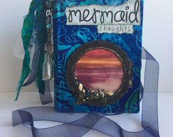 Mermaid Junk Journal Handmade, Traveler's Notebook, Diary, Art Journal, Scrapbook, Gratitude Journal