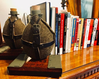 Antique Holland military canteen book ends
