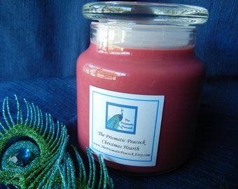 Christmas Hearth Scented Soy Candle 20 oz Apothecary Jar Red