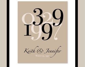 Wedding date art wedding date numbers personalized wedding