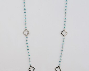 Sterling Silver Clover Quatrefoil apatite wire wrapped Chain - long station necklace