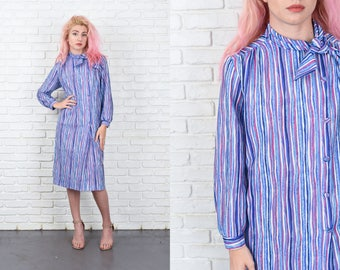 Vintage 70s 80s Striped Dress Purple Blue Shift Ascot Bow Large L 11050
